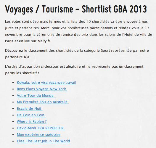 shortlist GBA2013